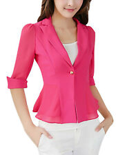 Lady Notched Lapel Half Sleeve One Button Closed Casual Blazer Jacket