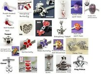 TWO European Charm Beads YOUR CHOICE ~ Hat Society Red Purple Silver Large Hole