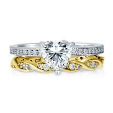 Silver Heart Shaped Cubic Zirconia CZ  Solitaire Engagement Ring Set 1.315 CT