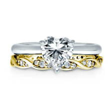 BERRICLE 925 Silver Heart Shaped CZ  Solitaire Engagement Ring Set 1.015 Carat