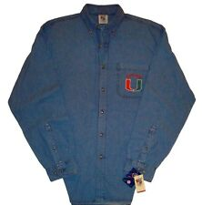 University of Miami Hurricanes NCAA Long Sleeve Shirt-Adult Sizes-Blue Denim-NWT