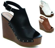 WOMANS LADIES PLATFORMS CHUNKY SANDALS WEDGE HIGH HEEL SLINGBACK SHOES NEW SIZE