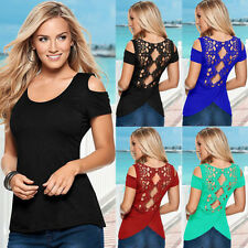 New Women Sexy Summer Short Sleeve Lace Blouses Off Shoulder Casual Tops T-Shirt