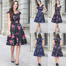 Womens Cape Sleeve Retro Style 1950s Rockabilly Evening Party Skater Dress Plus