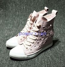 Womens Leather Fashion Sneakers High Top Trainer Wedge heel casual Shoes Sz 40