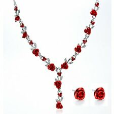 1 Set Women Rose Flower Crystal Necklace Earrings Wedding Bridal Jewelry Set
