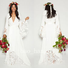 Bohemian Beach Wedding Dresses V Neck Long Sleeve Bridal Gown White Hippie Style