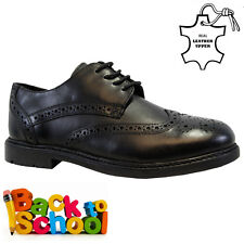 BOYS KIDS REAL LEATHER JUNIOR CASUAL BLACK LACE SCHOOL TRAINERS SHOES SIZE 1-6