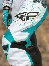 Fly Racing 2015 Kinetic Girls Youth Offroad MX Race Pant - Teal/White Size 20