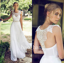Flowing Beach White Ivory Wedding Dress A Line Bridal Gown Size 4 6 8 10 12 14++
