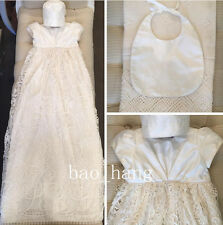 New Baptism Dresses Long Lace White Ivory Blessing Christening Gown +Bonnet +Bib