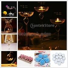 Assorted Clear Glass Candle Holders Tea Light Candlestick Stand and Candles PICK