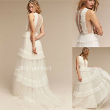 Romantic A Line Beach Wedding Dresses Plunging Lace Tiered Bridal Gowns Custom