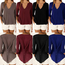 Sexy Women V-Neck Loose Button Down Long Sleeve Maxi Casual T-Shirts Top Blouse