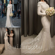 Wedding Dresses Pearls Long Sleeves Beading Beaded Bridal Ball Gowns Formal 2017