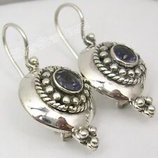 925 SOLID Silver NATURAL IOLITE Gem TIBETAN Earrings 3.1 CM WOMEN'S JEWELRY NEW