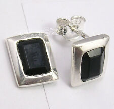 925 Sterling Silver FACETTED BLACK ONYX RETRO STYLE Earrings 1 CM BIRTHDAY GIFT