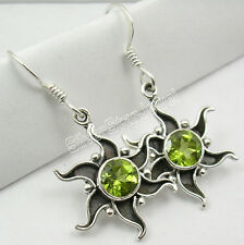 925 Sterling Silver PERIDOT ANCIENT STYLE Earrings 1 1/2 inches JEWELRY STORE