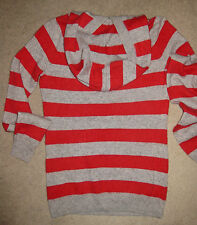 UNIQLO RED GREY STRIPED 100% CASHMERE HOODIIE Long SWEATER Hood TOP JUMPER Hole