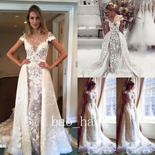 White Ivory Appliques Wedding Dress Bridal Gown Detachable Skirt Cape Sleeve New