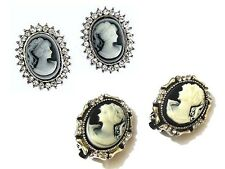 Cameo Earrings Vintage Antique Victorian Style Diamante Crystal Gift Jewellery
