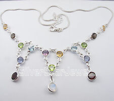 925 Pure Silver MULTISTONES Snake Chain WEDDING, PARTY WEAR Necklace 49.3 CM NEW