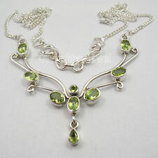 "925 Sterling Silver CUT PERIDOT BESTSELLER Large Chain Necklace 17 3/4"" Inches"
