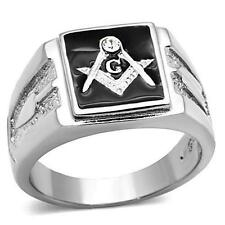 Men's Stainless Steel Freemason Square Black Masonic Master Mason Lodge Ring