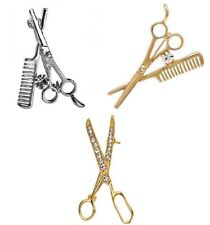 Hairdressing Brooch Pin Hairdresser Hair Stylist Silver Gold Tone Scissors Comb