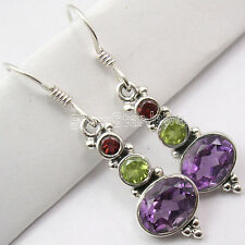 925 SOLID Silver Natural Multistones 3 GEM COLORFUL Earrings 3.8 CM ONLINE BUY