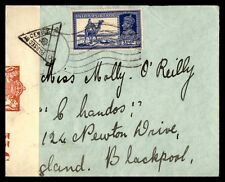 India Hyderabad to Blackpool england 1940s Censored WWII Cover