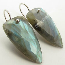 LABRADORITE, CRYSTAL & Other Stones Choices, 925 PURE Silver Triangle Earrings