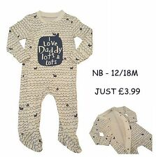 Babygrow Boys Sleepsuit Onezie Baby Grow 100% Cotton Chainstore Blue Love Daddy