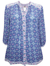 Marks & Spencer Per Una Blue Tile Print Ditsy Open Neck Blouse with 3/4 Sleeves