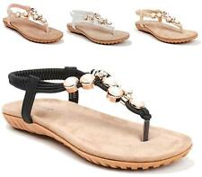 WOMENS FLAT LOW WEDGE DIAMANTE SPARKLY SUMMER HOLIDAYS SANDALS SHOES