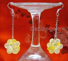 18-19mm Yellow 6mm crystal handwork Weaving Round Ball dangle Earring-ear489