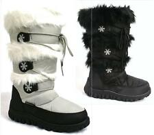LADIES WINTER SNOW BOOTS MID CALF LACE GRIP SOLE FULLY FUR LINED BOOTS