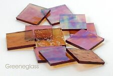 Amber Cathedral RR Iridized Mosaic Glass Tile Cut to Order Shapes * Med Pack