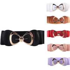 Womens Fashion Bowknot Buckle Leather Waistband Wide Elastic Stretch Waist Belt