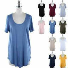 Women's Basic Solid Short Sleeve Scoop Neck Loose Fit T Shirt Chest Pocket S M L