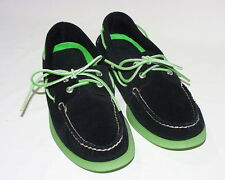 Sperry Top-Sider A/O Ice 2-Eye Suede Boat Shoe, Suede Upper, Black/Green, New