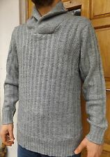 MEN`S NEW C&A CHUNKY CABLE KNIT SHAWL NECK JUMPER THICK WARM NAVY GREY ASH