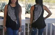 VOCAL CRYSTAL BLACK ANGEL WINGS BLING TUNIC SWING TANK TOP SHIRT S M L XL