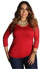 DEALZONE Elegant Lace Floral Top 1X Women Plus Size Red Evening, Occasion