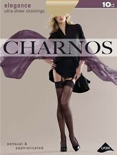 Charnos Elegance Ultra Sheer Stockings 10 Denier Black or Nude