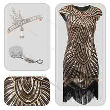 1920s Flapper Dress Gatsby Charleston Vintage Sequin Fringe Beaded 20's Costume