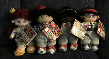 "LOT OF 4 ""SAVE THE CHILDREN"" BEAN BAG PLUSH DOLLS WITH TAGS AND CARRYING CASE"