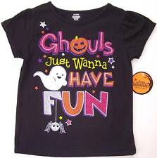 NWT Girls Sparkly Black Halloween Ghouls Just Wanna Have Fun Ghost T-Shirt 3T 4T