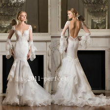 2017 New Arrival Sexy Backless Mermaid Wedding Dresses Bridal Lace Gowns Custom