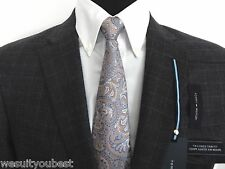 Tommy Hilfiger 100% Wool Gray Plaid Checkered Mens Suit Trim Fit, VARIOUS SIZES